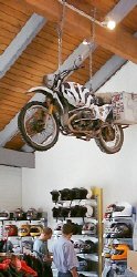 Andy Kilchmann's bike hangs from a beam